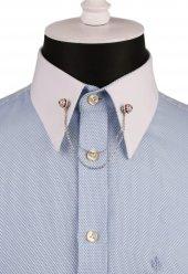 Kırmızı Taşlı Zincirli Gümüş Renk Gömlek Yaka İğnesi Gı131