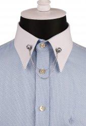 Bal Rengi Taşlı Zincirli Gömlek Yaka İğnesi Gı138