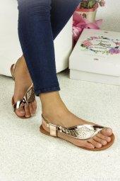 Melek Kanatlı Bronz Cilt Bayan Sandalet