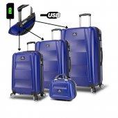 My Valice Smart Bag Exclusive Usb Şarj Girişli 4lü Valiz Seti (Travel Set) Lacivert
