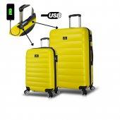 My Valice Smart Bag Colors Usb Şarj Girişli 2li Valiz Seti (Kabin Ve Büyük) Sarı