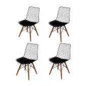 Levoli Home Style Metal Ahşap Ayaklı Sandalye 4 Lü Takım