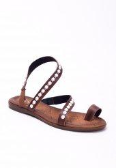 Efisio Taba Cilt Boncuklu Parmak Arası Bayan Sandalet Ayakkabı