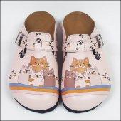 Kedi Ailesi Temalı Özel Tasarım Sabo Terlik Ost 603