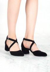 Rosanna Siyah Süet Çapraz Bağlamalı Topuklu Bayan Ayakkabı