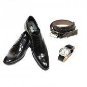 Eray Kundura Klasik Siyah Bağcıklı Erkek Ayakkabısı + Saat + Kemer