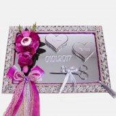 Söz Nişan Tepsisi Supla Dikdörtgen Aynalı İsme Özel 2 Renk Gümüş
