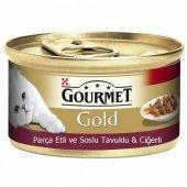 Gourmet Parça Etli Tavuk Ciğerli Yetişkin Kedi Konservesi 85gr