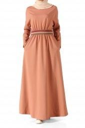 Pudra Beli Lastikli Kolu Yamalı Elbise P2294