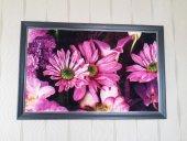 50 Cm X 70 Cm Tablo Halı Pembe Çiçek Çerçeveli