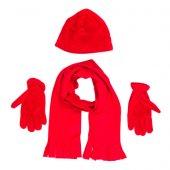 Bigg Polar Atkı Bere Eldiven Set Kırmızı