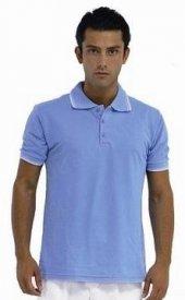 Yakalı Lakost Tişört İş Elbiseleri (Açık Mavi)