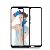 Huawei P20 Lite Ekranı Tam Kaplayan Düz Cam Koruyucu Siyah