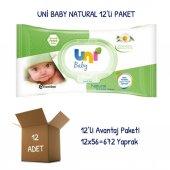 Uni Baby Natural Islak Havlu Mendil 12li