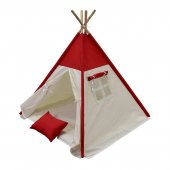 Oyun Çadırı %100 Pamuklu Kumaş Kızılderili Çadırı, Oyun Evi (Kod12kırmızı)