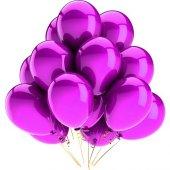 Fuşya Pembe Renk Metalik Balon 5 Adet