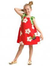 Tomurcuk Bebe Kız Çocuk Kırmızı Çiçekli Elbise