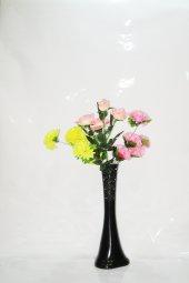 60 Cm Uzun Siyah Desenli Vazo Renkli Ortancalar Ve Sarı Gül