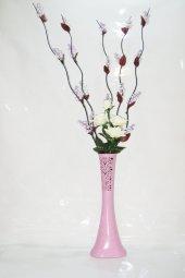 60 Cm Uzun Pembe Desenli Vazo 5 Adet Mor 20 Salkım Üzüm Beyaz Gül