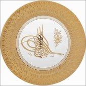 35 Cm Altın Yaldızlı Varaklı Osmanlı Tuğrası Dini Ürün Tabak