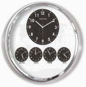 60cm Krom Metal 5 Ülke Saatini Ayrı Ayrı Gösteren Dünya Saati