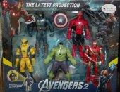 Süper Kahramanlar 5 Adet Işıklı Figür Seti Avengers Kahramanlar Serisi