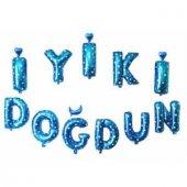 Folyo Balon Set İyiki Doğdun Mavi Zemin Gümüş Yıldız (İkm) Doğu