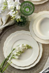 Kütahya Porselen Bone İrem 24 Parça Yemek Seti Mat Altın Fileli