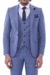 Tek Düğme Sivri Yaka Yelekli Desenli Açık Mavi Takım Elbise