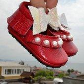 çıt Çıtlı Balerin Makosen Tabanlı Bebek Ayakkabı Kırmızı Cv 487