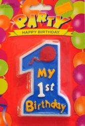 1 Rakamı My 1st Birthday Yazılı Mavi Renk 1 Yaş Erkek Pasta Mumu