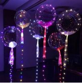 Karışık Renk Işıklı Jumbo Şeffaf Balon İçi Görünen Uçan Balon