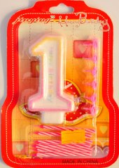 1 Yaş Kız Bebek Renkli Pasta Mumu 6 Adet Pembe Mum Hediyeli