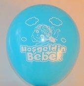 Hoşgeldin Bebek Baskılı Erkek Bebek Mavi Renk Balon 50 Adet