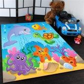Deniz Hayvanları Desenli Çocuk Odası Halısı