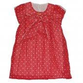Puanlı Kız Çocuk Şifon Elbise Kırmızı