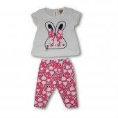 Tavşanlı Fiyonklu 2li Kız Bebek Tayt Takım Pembe