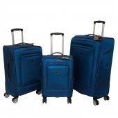 Nk 3 Lü Valiz Seti Hafif Kumaş Bavul Mavi 021