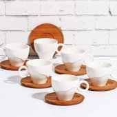 Bubambu 6 Kişilik Porselen Bambu Kahve Fincan Seti 222