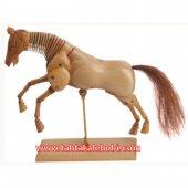 Ahşap Model Mankeni At Figürü 30 Cm. Koyu Kahverengi