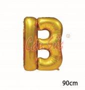 40inç B Harfi Folyo Balon Gold 90cm