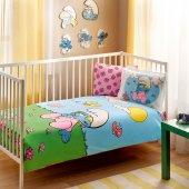 Taç Şirinler Pink Baby Lisanslı Bebek Nevresim Takımı