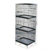 üç Katlı Kuş Kafesi Lüks Siyah Boyalı 40 X 50 X 128cm