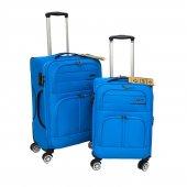 Fossil 2 Li Orta Ve Kabin Boy Valiz Seti Hafif Kumaş Bavul Mavi 1