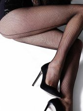 Vb Butik Arkası Çizgili File Külotlu Çorap Siyah