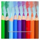 Dekoratif Baskılı Elektrik Düğmesi Priz Kapı Zili Renkli Kalemler