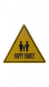 üçgen Metal Tablo Happy Family Mutlu Aile Metal Uyarı Levhası