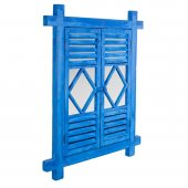 Zigzag Home Mavi Ahşap Duvar Aynası 62x3x76 Cm