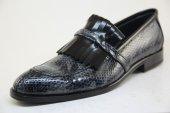 7917 Yılan Derisi Baskılı Rugan Ve Açma Deri Kösele Tabanlı Klasik Ayakkabı