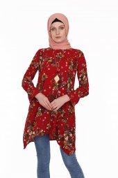 çiçekli Kolyeli Tunik 8109 Kırmızı